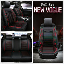 Universal Car Seat Covers Set Seat Cushion Luxury PU Leather Protector Black/Red