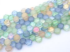 30x Czech Honeycomb Beads 6mm Hexagonal 2 Hole Beach Mix
