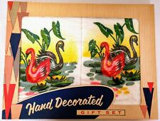 Vintage Swan Decorative Hand Towel Hand Decorated Gift Set 1950s Canada