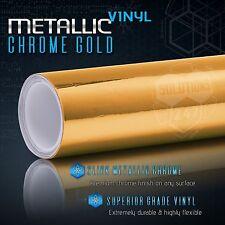 "60"" x 84"" In Gold Chrome Mirror Vinyl Wrap Film Sticker Decal Air Bubble Free"
