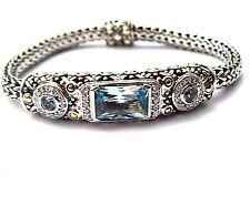 Gorgeous John Hardy Blue Topaz and Diamond 18kt 925 Slender Wrist Bracelet NICE!