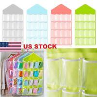 16 Pocket Clear Over Door Hanging Bag Shoe Rack Hanger Storage Organizer Cool JR