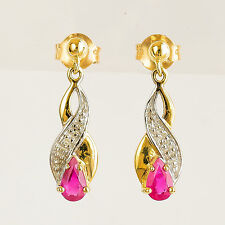 RUBY EARRINGS NATURAL RUBIES GENUINE DIAMONDS 9K 375 GOLD DROPS COME BOXED NEW