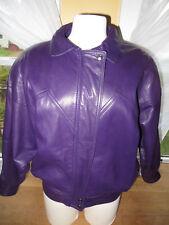 Di Capra International DC Women's Purple Lambskin Leather Flight Moto Jacket PS