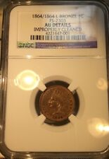 1864/1864 L on Ribbon Bronze Indian Cent. FS-2303 NGC AU