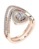 Designer Bridal Ring Set Brilliant Round Diamond SI1 G 1.50 Ct 14K Solid Gold