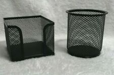 DESK ORGANIZER Post It Note Holder and Pen Holder BLACK WIRE MESH Office TEACHER