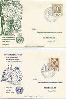 Germany   1959   Interposta  Jugend Welti  World Youth  Hamburg  FDC   Cover x 2
