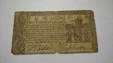 1774 $2/3 Annapolis Maryland MD Colonial Currency Note Bill Four Shillings Pence