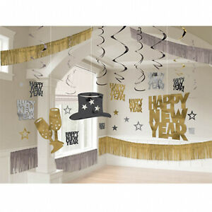 28 Piece New Year Party Room Decorating Kit Wall & Ceiling black silver gold