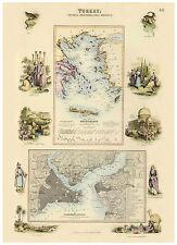 Turkey Istanbul Constantinopol Greece Crete illustrated map Fullarton ca.1872