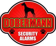 "DOBERMANN SECURITY ALARMS 5"" X 6"" DIE-CUT STICKER"