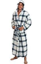 Mens Hooded Plaid Bathrobe White Blue Fleece S/M Full Length Soft Spa Robe