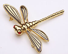 Splendido Gold Tone Metal DRAGONFLY SPILLA Rosso Luccicante OCCHI ALI NERO (zx29)