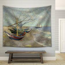 "Wall26 - ""Fishing Boats on the Beach at Saintes-Maries"" - Fabric Tapestry -68x80"