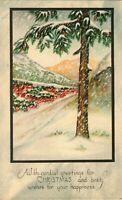 Antique (c.1905) Embossed Gold Foil Stone Lithographed Christmas Greeting Card