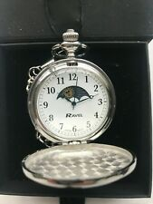 """Moonphase Silver Ravel Pocket Watch Engraved Sun-Moon White Dial 12"""" Chain"""