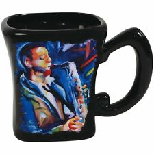 Marcia Baldwin Ceramic Coffee Mug with Jazz Blues Saxophone Musician 14 oz