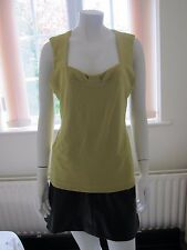 KALIKO Yellowy/Green  colour stretch sleeveless vest top  Size 14 RRP £24.99