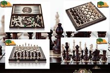 3 in 1 OLYMPIC - 40cm / 15.7in Handcrafted Wooden Chess Set Backgammon Checkers