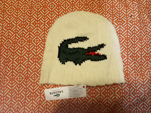 (H24) LaCoste Stretch Knit Cap, One Size, NWT MSRP $50, White