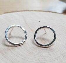 f59cfcb7f Sterling Silver Handmade circle Earrings.karma infinity hoops hammered studs .
