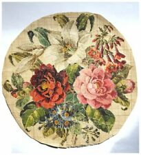ANTIQUE ORIGINAL BERLIN WOOLWORK HAND PAINTED CHART PATTERN LARGE ROUND FLORAL