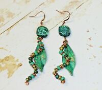 Handmade Dichroic Glass Green with Copper Patina Leaf Dangle Earrings
