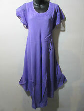 Dress Fits 1X 2X 3X 4X Plus Long Tunic Purple Embroidery Cotton Sundress NWT 900