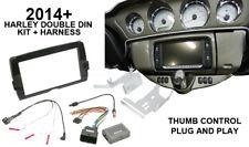 Double DIN Radio Dash Kit W/ Thumb Control Interface for 14-17 Harley Davidson