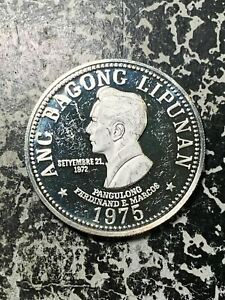 1975 Philippines 50 Piso Lot#Z6595 Large Silver Coin! Proof!