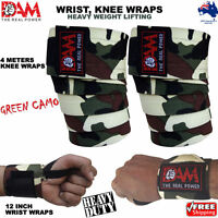 DAM HEAVY DUTY WEIGHTLIFTING KNEE WRIST WRAPS GREEN CAMO BODY BUILDING STRAPS
