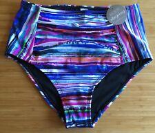 NANCY GANZ BNWT Body Shape Tie-Dyed Stripe High Waist Swim Bottoms Pants 16