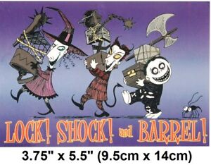 "Nightmare Before Christmas Lock Shock and Barrel Vinyl Bumper Sticker 3.7""x 5.5"""