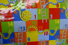 SNAKES LADDER COTTON CRAFT WIPE-ABLE OILCLOTH PVC WIPE CLEAN TABLECLOTH per m