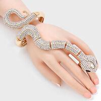 "6.50"" gold crystal snake ring bracelet stretch cuff bangle"