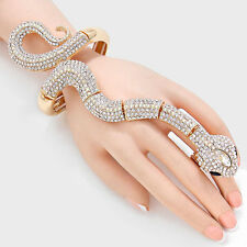 "6.50"" gold crystal snake ring bracelet stretch cuff bangle"
