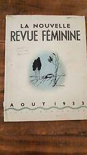 LA NOUVELLE REVUE FEMININE (THE NEW WOMAN'S MAGAZINE) August 1933