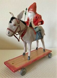 Antique German Christmas SANTA CLAUS Riding a DONKEY PULL TOY