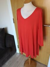 Ladies SOPHIE GREY Top Size 26 28 Orange Tunic Stretch Smart Casual Day