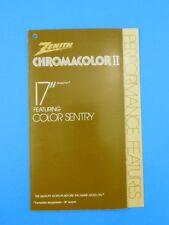 "Zenith Chromacolor II 17"" Television Brochure Vintage TV Advertising"