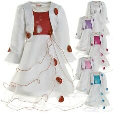 Mädchen Kinder Kleid Peticoat Festkleid Lang Arm Kostüm mit Bolero Rose 21476