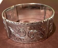 """Vintage Mexico Gorgeous Hand Etched Solid Sterling Silver Bracelet 62.2g 6.75"""" L"""