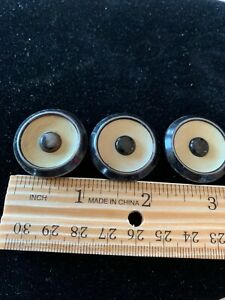 Antique Button Set Of 3 Metal With Celluloid Insert 1 Inch Size