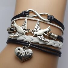 Stylelish Peace Dove Infinity Charm Bracelet Sister Charm Black White Leather