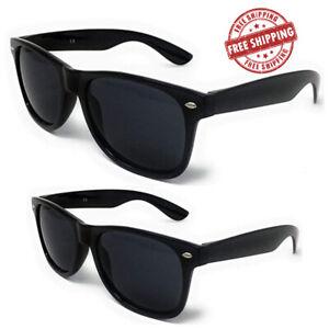 Classic BLACK Sunglasses Lens Mens Womens Ladies 80s Retro Vintage Fashion UV400