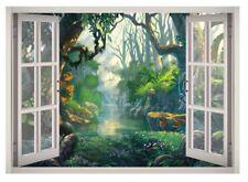 Wild Forest River Window 3D Wall Decal Art Mural Home Decor Canvas Vinyl W139