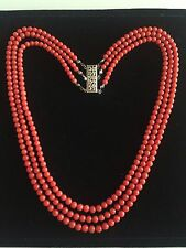 Sterling Silver Clasp 3 Row Natural Red Coral 5mm Beads Necklace