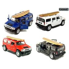 "4PC SET: 5"" Kinsmart 2008 Hummer H2 SUV Surfboard Diecast Model Toy Truck 1:40"