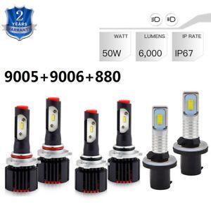 For GMC Sierra 1500 1999-2001 9005 9006 880 LED Headlights Fog Lamps Combo Bulbs